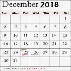 December 2018 Printable Calendar  #DecemberPrintableCalendar2018