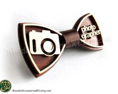 Wood bow tie Photographer, wooden unisex photo accessory
