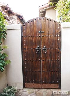 Architectural Gates wood with copper nail detailing Fence Doors, Garden Doors, Fence Gate, Fences, Side Gates, Front Gates, Entrance Gates, Yard Gates, Front Fence