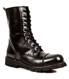 New Rock Style M.NEWMILI10-S1 10-Eyelet Newmili Rangers Boots (Black)