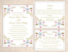 DIY Wedding Invitation Template Set Download Printable Floral ...