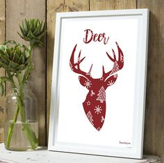 *Noël* Affiche Cerf silhouette rouge A4 sans cadre : Décorations murales par tauromarion