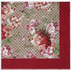 Gucci Modal Silk Blooms Print Shawl ($310) ❤ liked on Polyvore featuring accessories, scarves, silk shawl, floral print scarves, shawl scarves, floral scarves and gucci shawl
