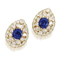 Pair of 18 Karat Gold, Sapphire and Diamond Earclips, Cartier | lot | Sotheby's