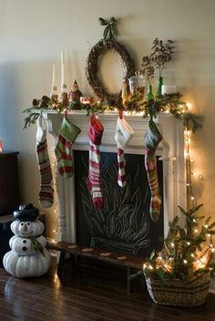 Faux mantle, chalkboard paint behind it to draw in a fire! Love!