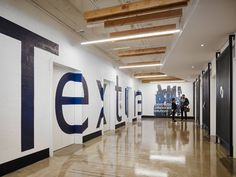 Partners by Design has developed the new offices of construction management software firm Textura located in Chicago, Illinois. Textura's office design Wall Art Designs, Wall Design, Agency Office, Elevator Lobby, Interior Work, Lobby Interior, Interior Design, Office Lobby, Chicago