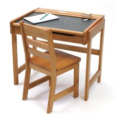 Child Desk Chair Set Kids School Furniture Chalkboard Table Home Study Wood #DoesNotApply