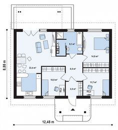 Проект удобного дома для двоих  S3-92-1 (Z61). План 1. Shop-project