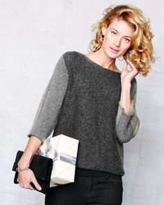 Eileen Fisher Color-Block Box Top Sweater