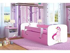 Worlds Apart Unicorn Rainbow Toddler Bed with Storage and Canopy plus Deluxe Foam Mattress