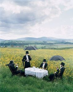 """This is unrealistic for us, but super fun. """"A Little Brit Different"""": Tim Walker for Vanity Fair. Members of the Liverpool band Clinic, who never reveal their faces. Photography by Tim Walker Tim Walker Photography, Band Photography, Editorial Photography, Fashion Photography, Creative Photography, Whimsical Photography, Photography Aesthetic, Glamour Photography, Artistic Photography"""