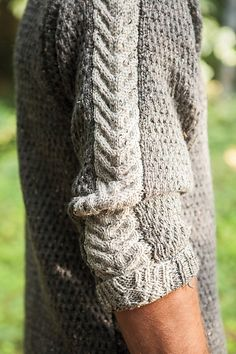 Cables and intarsia combine in this design. Ravelry: Men's Staghorn Waffle Sweater pattern by Daniela Nii