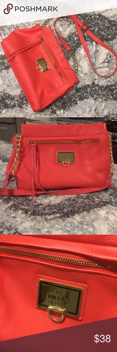 Orange Nicole Miller cross body This purse is stunning. New without tags. Just been sitting in my closet. Beautiful gold hardware. Cross body is adjustable. Inside brand new no signs of wear and tear inside. Lots of space inside. Lots of pockets and compartments with the zippers. You can fit a ton of stuff in here. Overall a great bag at a great price. Spring cleaning, so getting rid of a lot! Nicole by Nicole Miller Bags Crossbody Bags