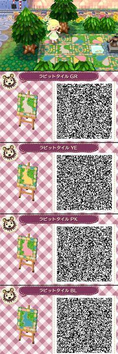 Animal Crossing New leaf QR codes cute rabbit tile