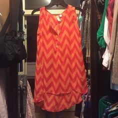 Sleeveless hi lo top Boutique bought EUC Coral and pink c neck with buttons sleeveless sheer hi lo top 100% polyester one pet smoke free home Tacera Tops Blouses