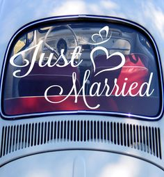 Just Married Decal Marriage Wedding Car Decal by SignJunkies, $21.95...Would love this for our car
