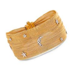 """Ross-Simons - C. 1980 Vintage .35 ct. t.w. Diamond Mesh Bracelet in 18kt Yellow Gold. 7"""" - #772213"""