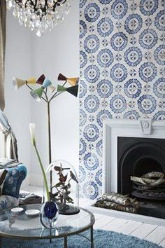 Fireplace with Moroccan tiles.