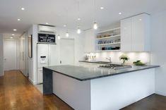 Modern minimalist kitchen with Marble Kitchen Countertop, via home decoratin gtrends.