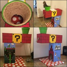Luigi themed Super Mario cat house – tree- | Cats by Patricia