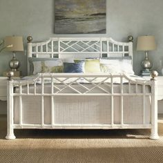 Tommy Bahama by Lexington Home Brands Ivory Key Pritchards Bay Panel Bed - White, Size: Queen - Panel Headboard, Headboard And Footboard, Panel Bed, Headboards, Tommy Bahama, Rattan, Lexington Home, Pastel House, Adjustable Beds