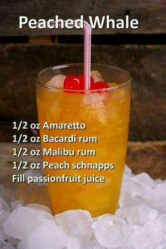 ounce Malibu rum ounce Bacardi rum ounce peach schnapps ounce amaretto Fill passionfruit juice Garnish with by victoria Liquor Drinks, Non Alcoholic Drinks, Cocktail Drinks, Cocktail Recipes, Alcholic Drinks, Alcohol Drink Recipes, Pineapple Alcohol Drinks, Juice Recipes, Fun Summer Drinks Alcohol