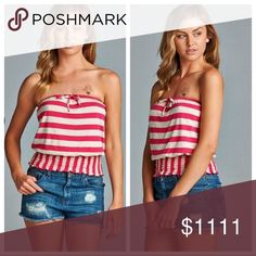 SNEEK PEEK  👀 Strapless Stripe Top ✳️ LIKE THIS LISTING TO BE NOTIFIED WHEN ITEM ARRVES ✳️  Strapless top has a smocked waist and drawstring bow detail. This super cute striped design is so ready for summer! 1 North 1 South Tops