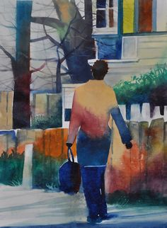 """Hyde Park Chicago Watercolor Print+""""16x20"""" +African American Art+Contemporary Art+Urban Art+Abstract Painting+Abstract Watercolor by sbrownart"""