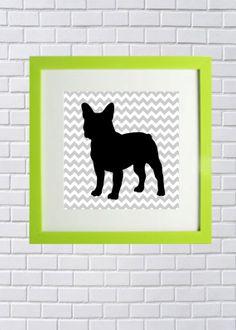French Bulldog silhouette chevron print
