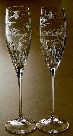 Wedding Stems hand engraved crystal by Catherine Miller of Catherine Miller Designs
