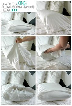 Une taie d'oreiller King sur un oreiller standard 25 Tutorials To Teach You To Fold Things Like An Actual Adult King Size Pillows, Small Pillows, Folding Fitted Sheets, Large Pillow Cases, Camas King, Linen Closet Organization, Home Hacks, Room Decor Bedroom, Getting Organized