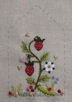 Strawberry Side Panel ~ from the Carolyn Pearce 'Home Sweet Home' workbox project ~ embroidered by Janet Granger
