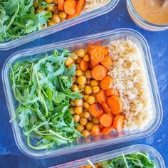 Roasted Carrot and Chickpea Salad with Orange Ginger Cashew Dressing {Meal Prep} - She Likes Food