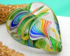 Murano Art Glass Heart Multicolor Paperweight