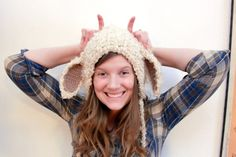 Lamb Bonnet PDF Crochet Pattern (hat, accessories, clothing, knitting, white, animal, lamb)