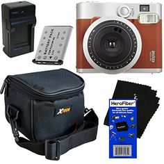 Fujifilm INSTAX Mini 90 Neo Classic Instant Film Camera (Brown) + Battery & AC/DC Battery Charger + Xtech Well Padded Camera Case with Pocket & Strap + HeroFiber Ultra Gentle Cleaning Cloth Film Photography Project, Photography Supplies, Photography Store, Photography Basics, School Photography, Photography Classes, Photography For Beginners, Photography Camera, Fujifilm Instax Mini 90