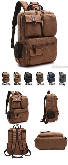 Which color do you like? Vintage Brown Large Capacity Multi-pocketed Outdoor Travel Backpack School Canvas Laptop Backpack #backpack #travel #school #laptop #college #canvas