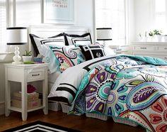Teenage Girl Bedroom Ideas   Black & White Bedroom   PBteen