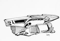 Spaceship #15 - May 15 2016 - ink on paper by Steven H MacDowall 7 inches = 17.78cm X 5 inches = 12.7cm (width x height).