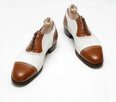 Men Formal Shoes Handmade Cap Toe Two Tone Tan White Leather Oxford Brogue Boots Oxford Brogues, Wingtip Shoes, Leather Brogues, Leather Shoes, Oxford Shoes, Suede Shoes, Suede Leather, Formal Shoes For Men, Men Formal