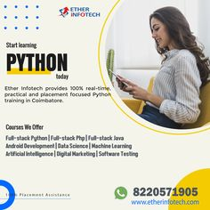 Learn Programming, Python Programming, Software Testing, Software Development, Machine Learning Artificial Intelligence, Coimbatore, Computer Science, Java, Ethereal