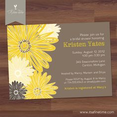"Bridal Shower Invitation - Baby Shower - ""Daisy Sunflower"" - Yellow Brown - Blossom, Blooms, Floral, Flowers (DIY Digital Printable). $14.50, via Etsy."
