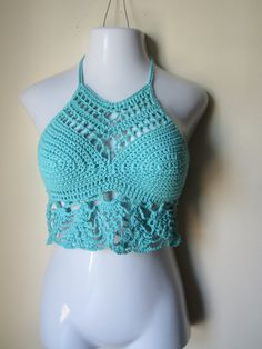 Crochet cropped Halter top  crochet halter top by Elegantcrochets, $54.00
