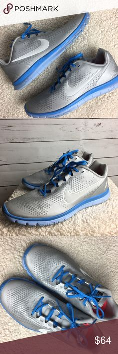 Nike FREE 3.0 Nike FREE 3.0 Silver with Blue Trim Size 8.5 Excellent Condition Worn a Few Times Nike Shoes Athletic Shoes