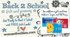 Back to School contests already? Get in to win a Walmart, Target or Old Navy gift card.  https://www.facebook.com/WomanFreebies/app_190443957787125