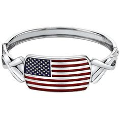 1928 American Flag and Ribbon Bangle Bracelet ($27) ❤ liked on Polyvore featuring jewelry, bracelets, multicolor, hinged bracelet, 1928 jewelry, american flag jewelry, multi colored jewelry and colorful jewelry