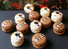 Star Wars the Force Awakens Macarons, BB8 Apple pie and Chewbacca Hot Cocoa Macarons