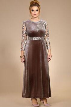 Платье женское нарядное, удлиненное без подкладки. Выполнено из трикотажного полотна (велюр, тянется) в сочетании с кружевом (не тянется). По спинке потайная тесьма – молния и разрез. Декором служит отделка, настроченная по переду платья. Длина платья – 136 см. Длина рукава - 52 см. Ширина рукава в пройме – 42 см. Modest Fashion, Hijab Fashion, Fashion Dresses, Plus Size Dresses, Short Dresses, Long Formal Gowns, Velvet Fashion, Oriental Fashion, Indian Designer Wear