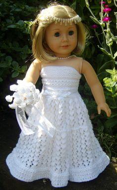 American girl wedding dress crochet pattern http://www.etsy.com/listing/156884830/american-girl-doll-top-down-wedding