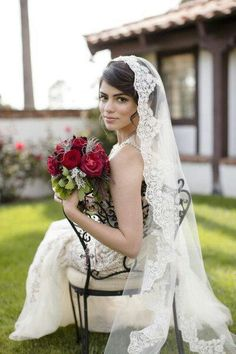 Beaded lace veil in fingertip length Spanish wedding veil, Classic bridal veil, Lace veil Mantilla Very detailed work with clear and clean high Spanish Wedding Veils, Spanish Veil, Spanish Style Weddings, Mantilla Veil, Lace Veils, Updo Veil, Wedding Looks, Dream Wedding, Wedding Day